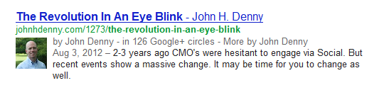 John H Denny Google+ Author Rank search result